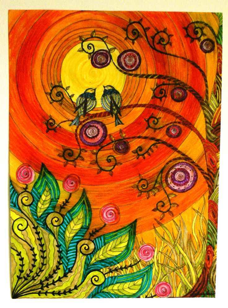 zentagle, madarak(szines filctoll) 2015.