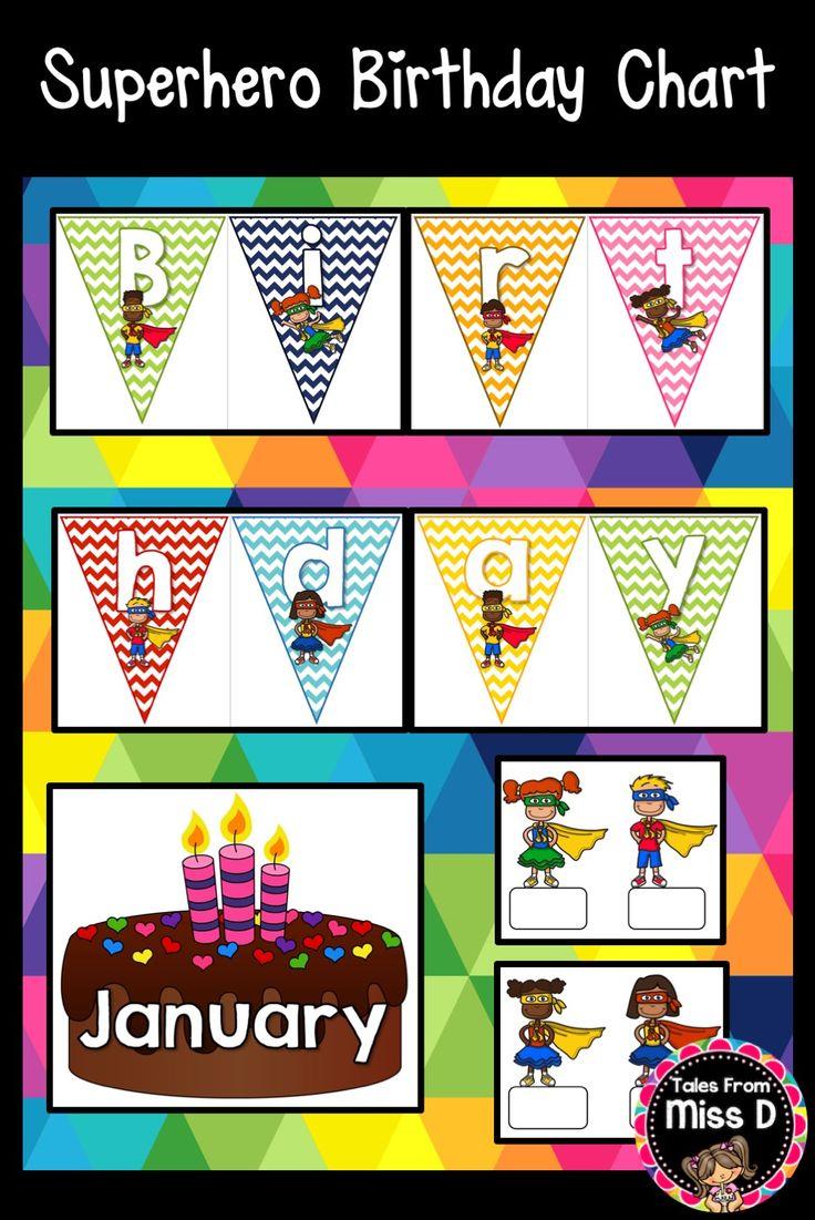 Superhero Classroom Decor Printables ~ Best birthday charts ideas on pinterest