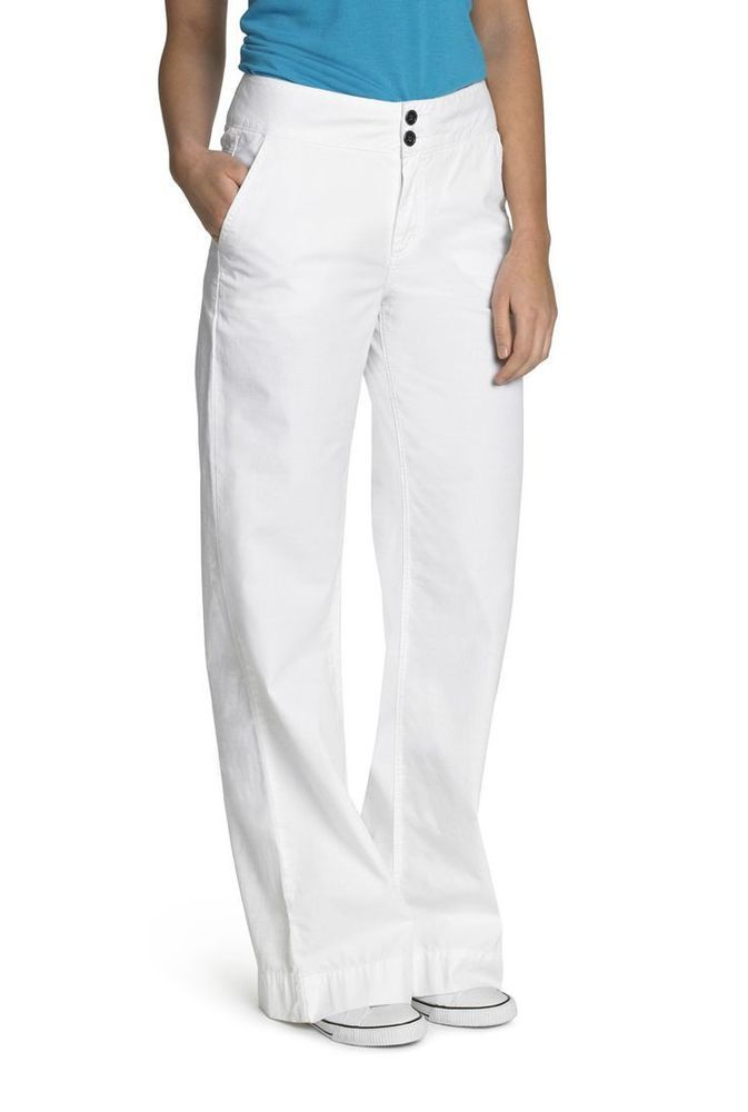 """Long Tall Sally Womens Textured Cotton Wide Leg Trousers Size 14 White 38"""" 03E04 #LongTallSally #WideLeg #Workcasual"""