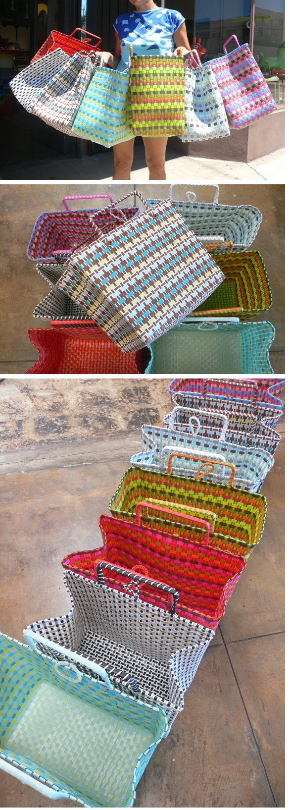 woven totes from plastica