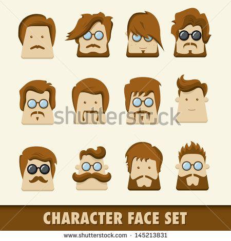 Men character icon set. Vector illustration