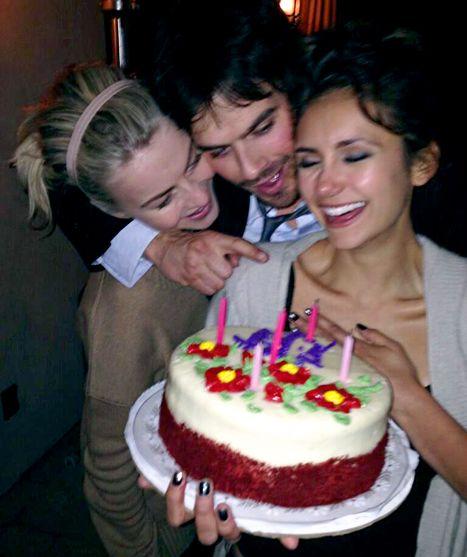 Julianne Hough, Nina Dobrev and Ian Somerhalder  celebrate Nina's birthday on Jan.9,2014
