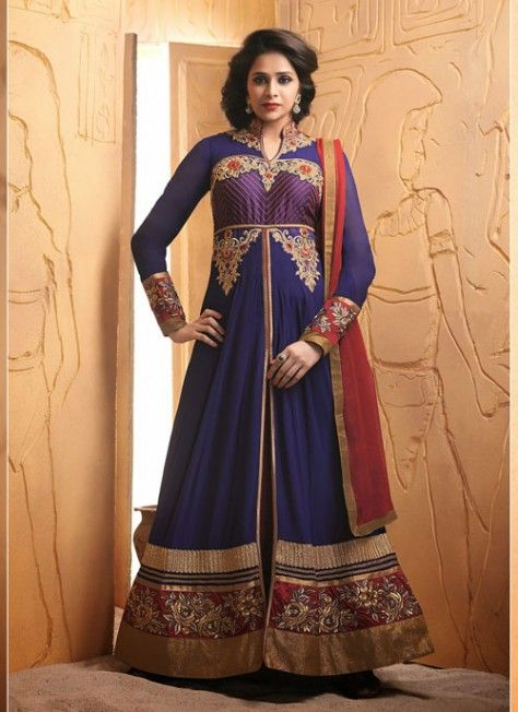 Elegant #Blue & #Purple #Embroidered #Suit With Patch Patti Work