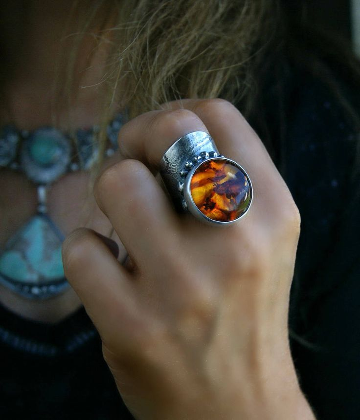Fire of The Heart - Baltic Amber Sterling Silver Ring by MercuryOrchid on Etsy