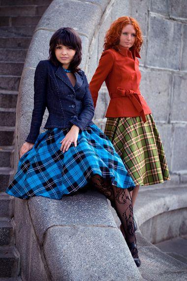 TK-vestiario - готовая одежда -осенняя пышная юбка в клетку (new-look, 50-ые гг)