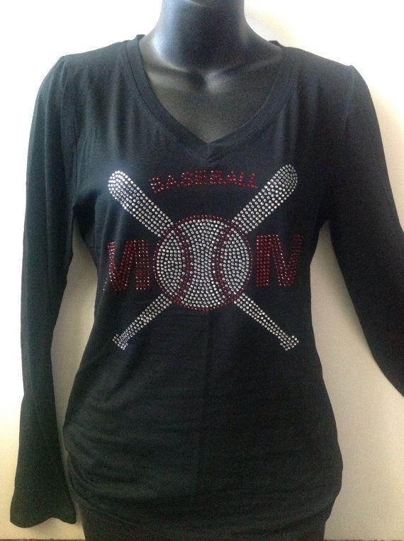Bling Baseball Mom Shirt Long and Short by JqMCrystalDesigns, $30.00