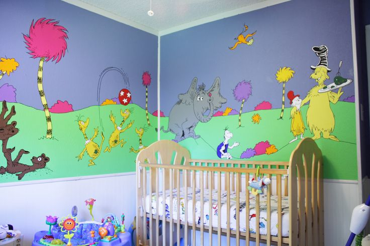 Dr seuss nursery google search baby dzurik pinterest for Dr seuss mural nursery