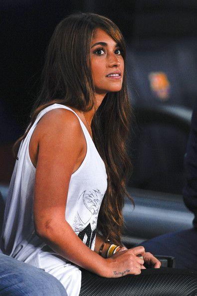 Antonella Roccuzzo looks on prior to the La Liga match between FC Barcelona and Real Sociedad de Futbol at Camp Nou on September 24, 2013 in Barcelona, Catalonia.
