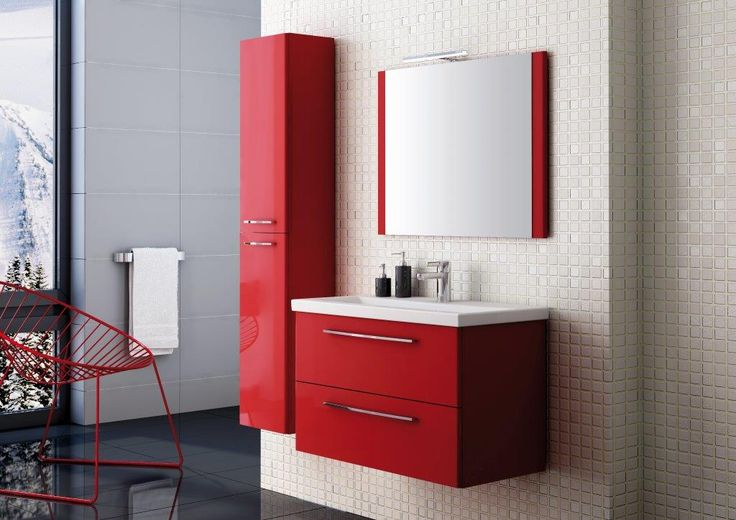 Jump 80 2S red new, umywalka ceramiczna/ceramic washbasin Milos. #elita #meble #lazienka #jump #bathroom #furniture #colorful