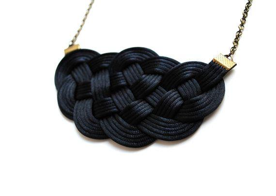 Black necklace knot necklace satin cord necklace by elfinadesign
