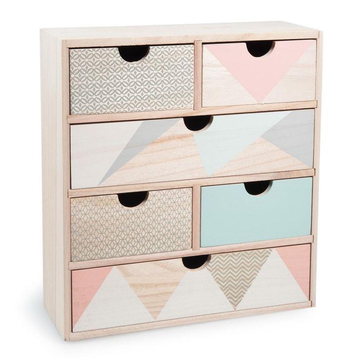 Box mit 6 Schubladen ANJA aus Holz, H 34 cm