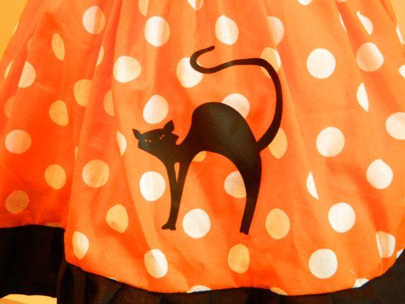 Orange Halloween Black Kitty Cat Jumper Dress by