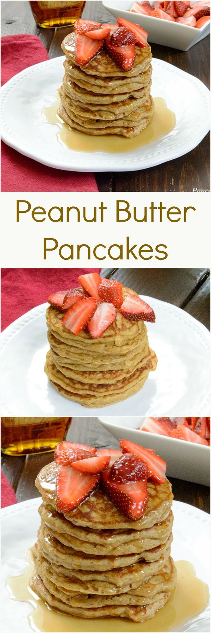 Fluffy Peanut Butter Protein Pancakes - low fat, high protein, gluten free pancakes are the perfect way to start the day! You won't believe how healthy these are!
