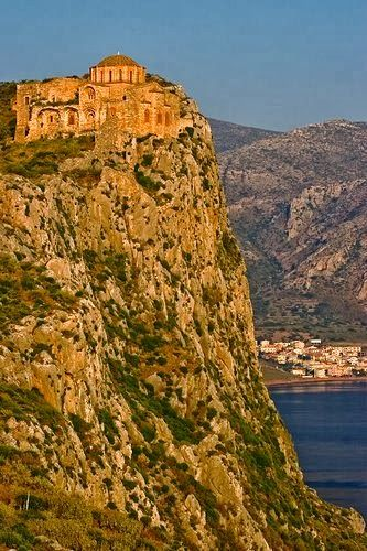 Monemvasia, Greece. , a Gibraltar-like rock with a Crusader-style stone town at its base, has ruins all across its Masada-like summit.