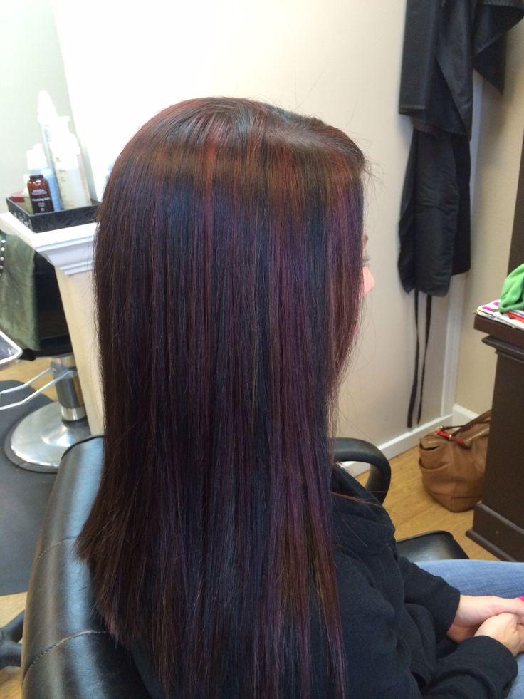 Dark Burgundy Brown Hair and Highlights