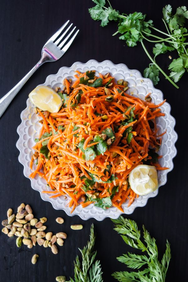 Carrot Salad with Coriander Vinaigrette and Pistachios - Blogging Over Thyme