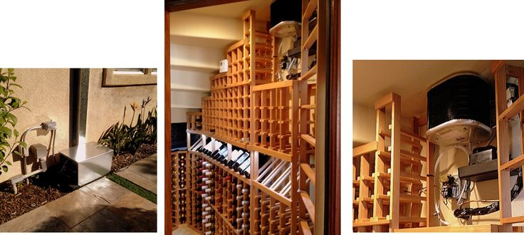 Residential Wine Cellar Refrigeration Unit with the Evaporator and Condenser. Arctic Metalworks removed the Breezaire wine cellar cooling systems and replaced it with an Arctic 0025 split refrigeration system. Arctic units are proven to be more efficient for climate controlled wine rooms. Click here to learn more - http://www.winecellarsbycoastal.com/wine-cellar-cooling-units-types.aspx.