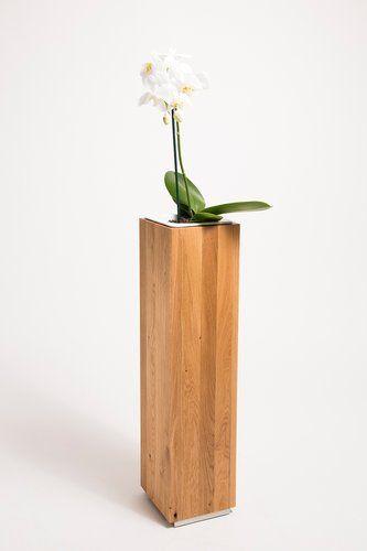 Pflanzsäule 17x17x70 cm Eiche Massivholz Blumensäule Blumenkübel Pflanzkübel – GreenHaus