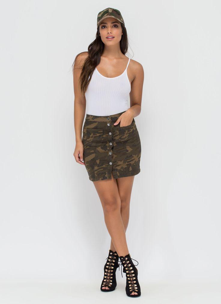 Cute Camo Buttoned Denim Miniskirt GoJane.com