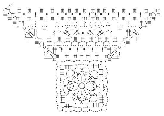Casaco rendado DROPS em croché, em forma de quadrado, em Delight.  Do S ao XXXL. Modelo gratuito de DROPS Design.