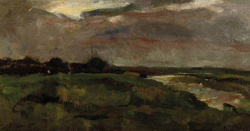 George Hendrik Breitner - Zomerregen; een polderlandschap in grijs weer