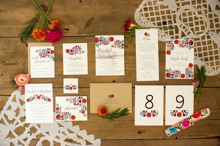 Inviti di nozze destinazione ricamo messicano di JPstationery