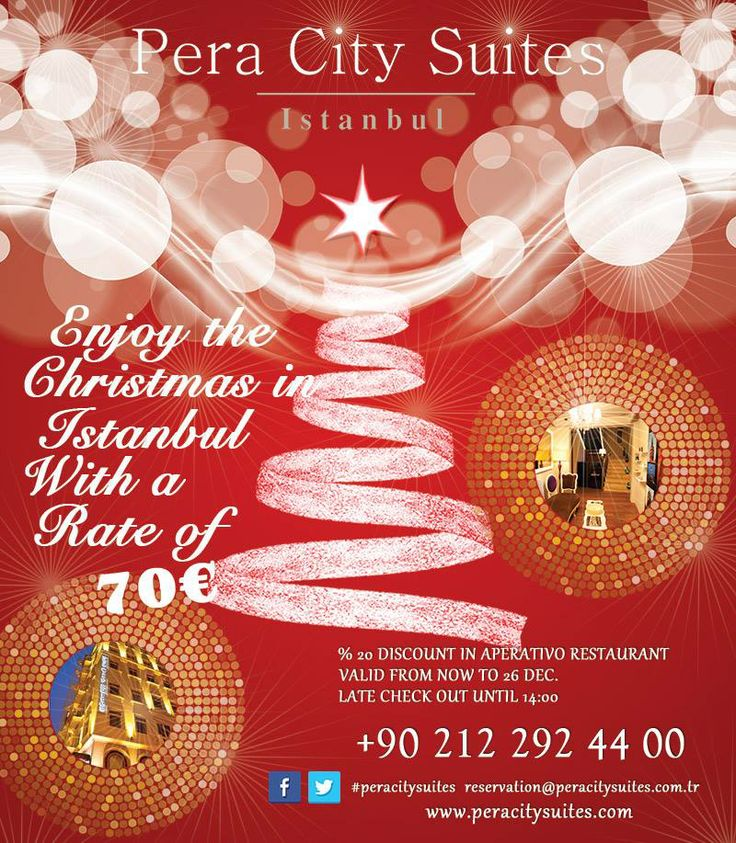 Pera City Suites;  Enjoy the christmas in Istanbul with a rate of 70€  #peracitysuites #istanbul #taksim #eğlence #konaklama #taksimotelleri #taksimperacitysuites