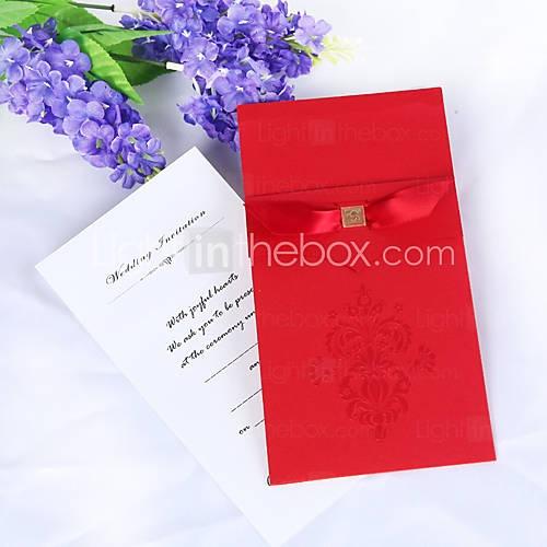 cru rouge invitation de mariage flor de lis avec insert (jeu de 50)