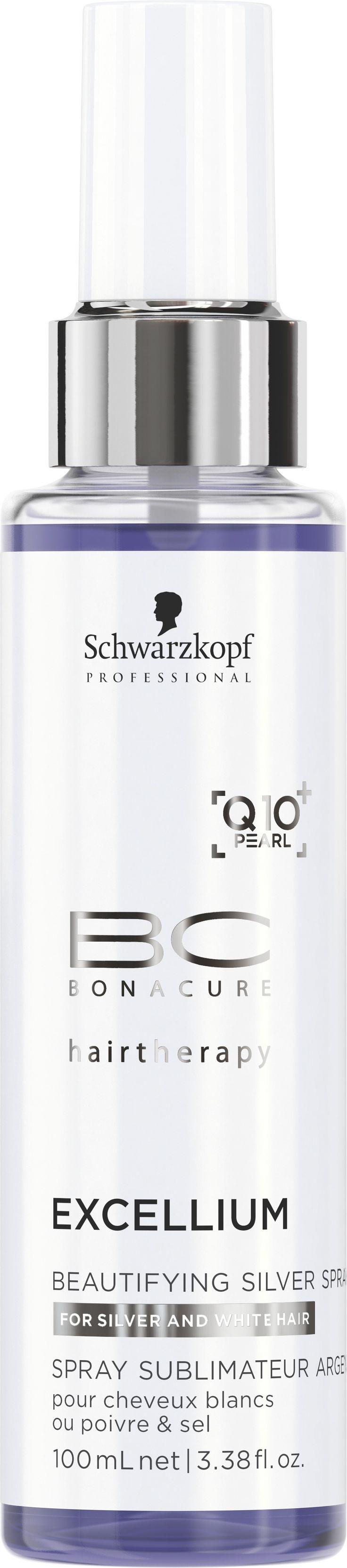 BC EXCELLIUM Q10+ GYÖNGY Beautifying Ezüst spray, 100 ml Egy könnyű, tápláló spray balzsam ezüst pigmentekkel a természetes és egészséges megjelenésért. Semlegesíti a sárga tónusokat, helyreállítja a hajfényt és védelmet nyújt az UV sugarakkal szemben. 70-100% ősz vendégeknek ajánlott.