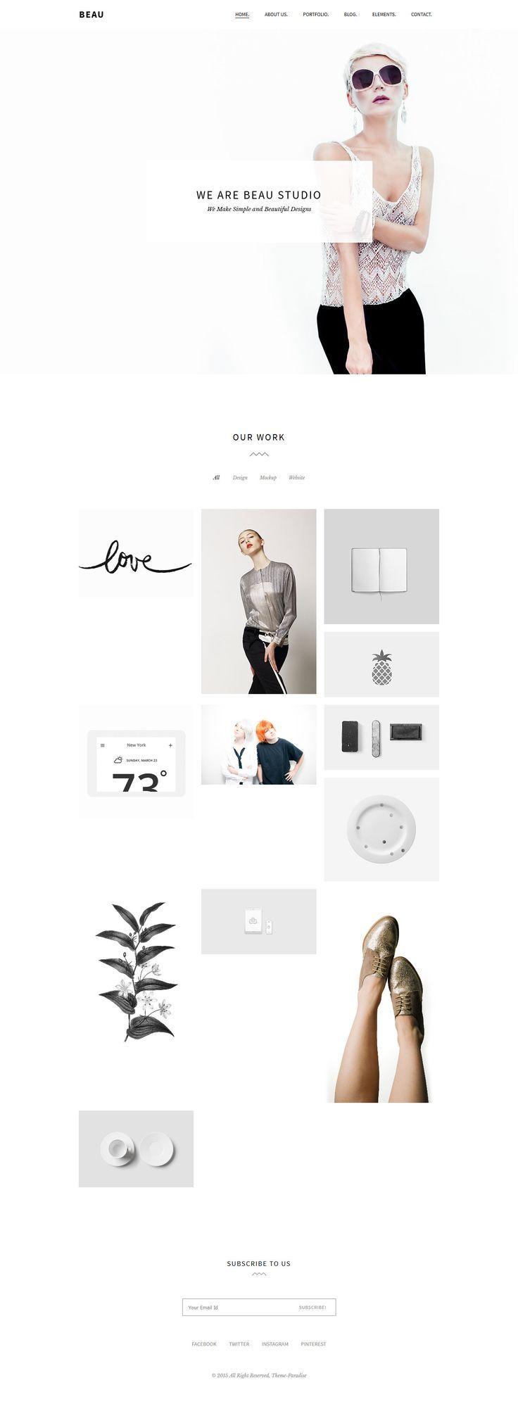 Beau - Minimal Portfolio/Agency WordPress Theme #webdesign Download: themeforest.net/...