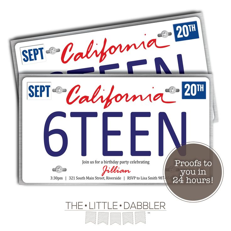 Printable California State License Plate 16th Birthday