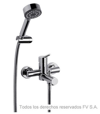 Juego monocomando Cibeles exterior de pared, para bañera y ducha, con transferencia automática y ducha manual autolimpiante incluida