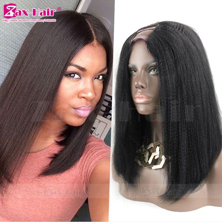 U Part Wig Brazilian Italian Yaki Straight U Part Wig Human Hair For Black Women Short Bob Wig 7A Virgin Human Hair Wigs Stocked
