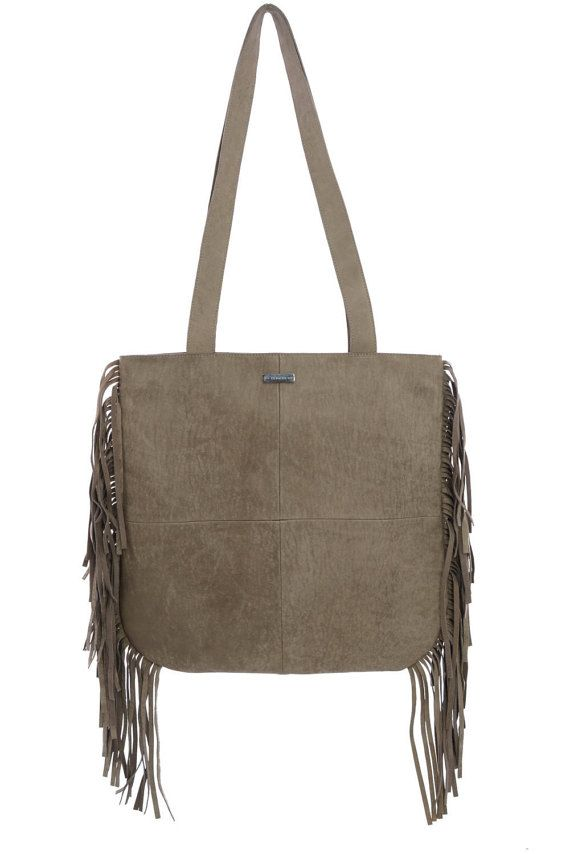 Leather toteBrown Fringe Tote Bag Fringe bag by MONAObags on Etsy