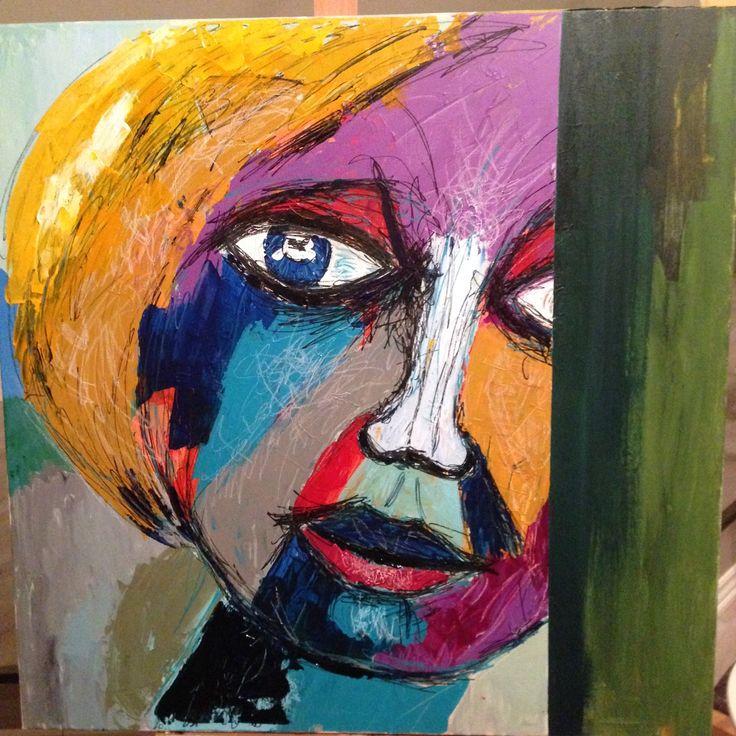 Ansigt i akrylmaling. Maleri til salg.