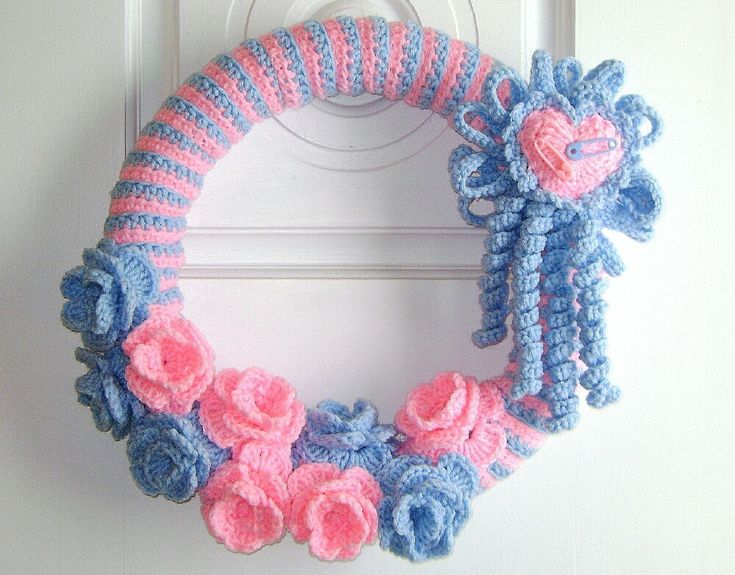 New Baby Wreaths   Welcome New Baby 14 Inch Crochet Wreath by Rhody on Etsy