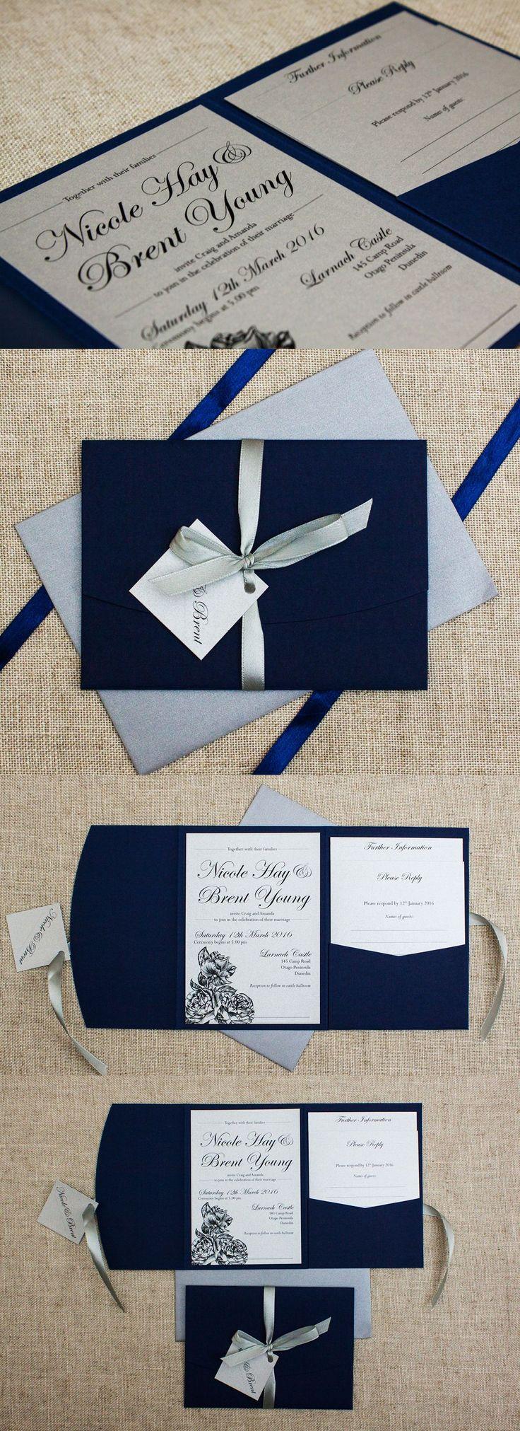 Elegant Navy Blue and Silver Wedding Invitation