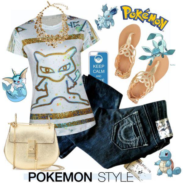 Pokemon Style by esch103 on Polyvore featuring True Religion, Ancient Greek Sandals, Chloé, Oscar de la Renta, CellPowerCases, Pokemon, contestentry, pokemonstyle and PokemonGO