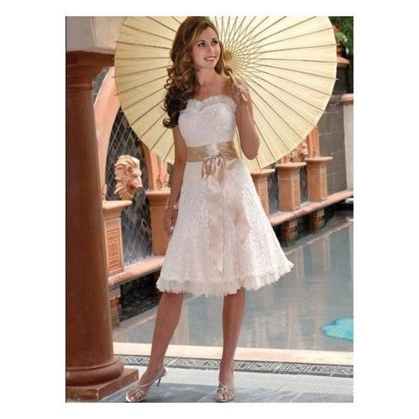 Fully Embroidered Lace Sash Tea length Short Wedding Dress