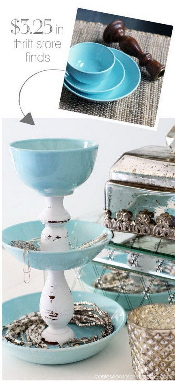 DIY Jewelry Storage From Pretty Dishes And Two Candlesticks