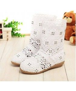 White crochet cut out boots