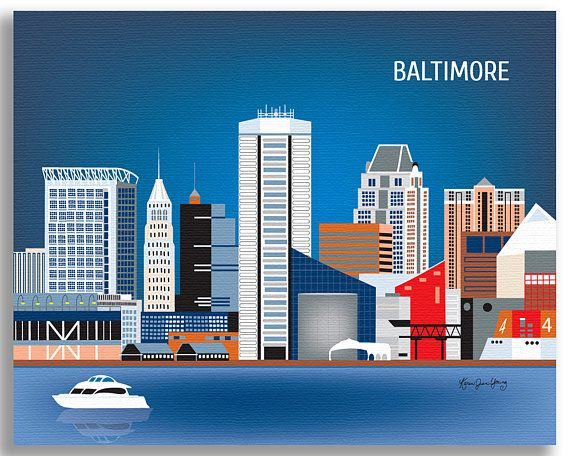 Baltimore Art Baltimore map Baltimore skyline poster