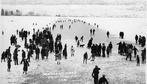 Penticton residents enjoy the ice on Okanagan Lake in 1936 (- the year the SS Sicamous was retired from Service)