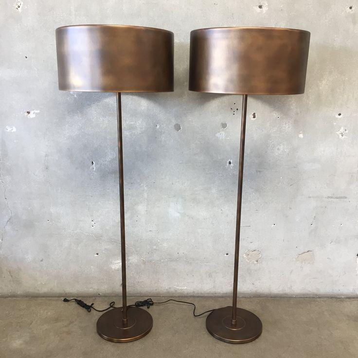 Pair of Restoration Hardware Metal Drum Floor Lamps in