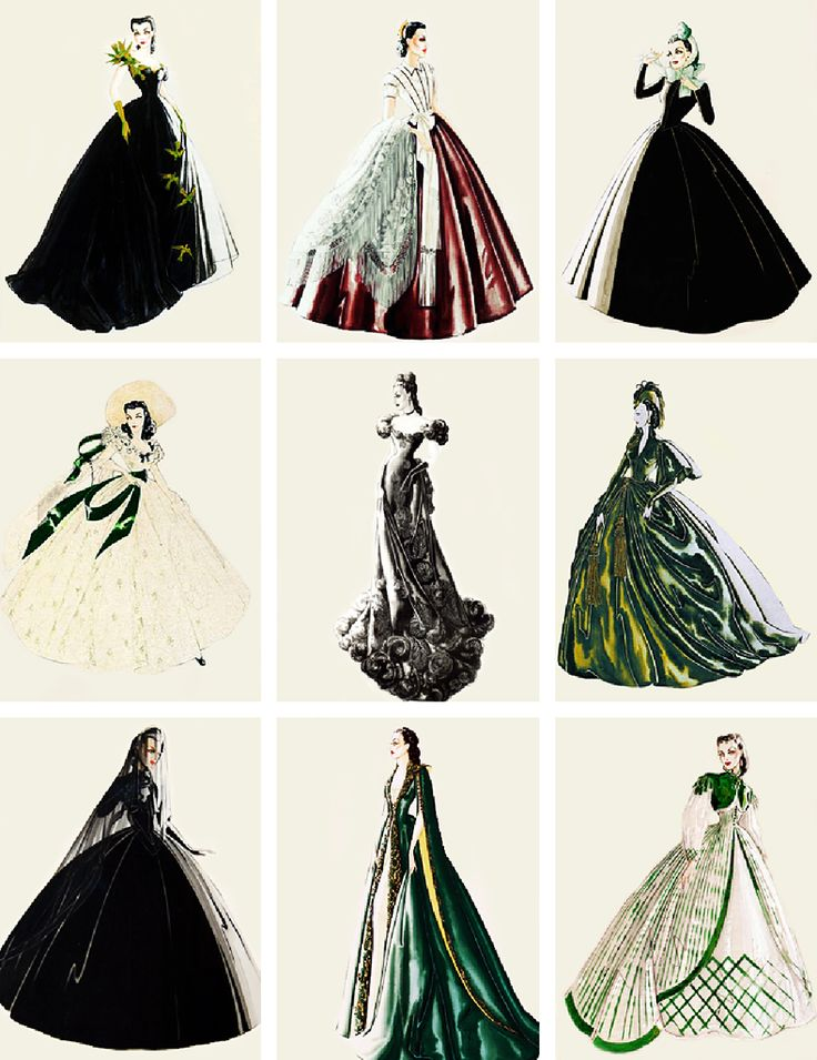 Walter Plunkett's costume sketches for Vivien Leigh as 'Scarlett O'Hara' in Gone…