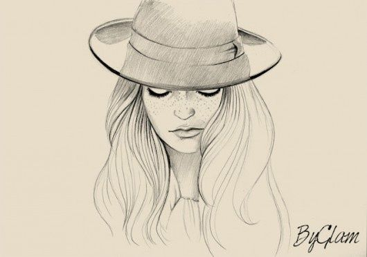 drawings of women with hats - Google Search. Beautiful. Amazing!!!!!!