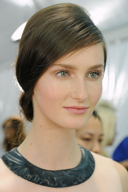 Modern chignon with a touch of volume at Valentino S/S RTW 2013.