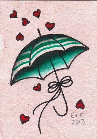 Valentine Umbrella, tattoo flash by Evie Yapelli - showpigeon.com