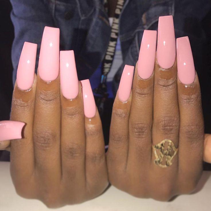 Beautiful Pink long acrylic nails