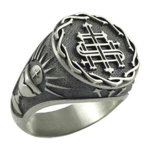 Jesuit Silver Men Ring Society of Jesus S.J IHS The Holy Name of Jesus US Sizes